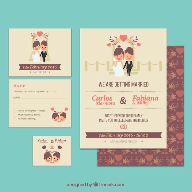 Leuke bruiloft uitnodiging sjabloon Gratis Vector