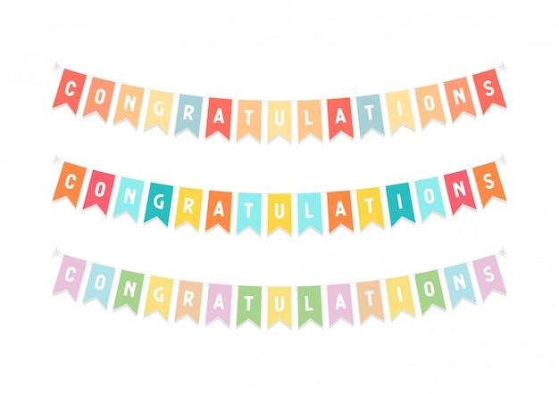 Leuke bunting vlaggen met letters felicitatie. Premium Vector