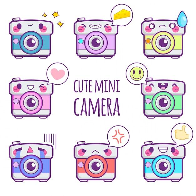 Leuke camera sticker emoticon Premium Vector