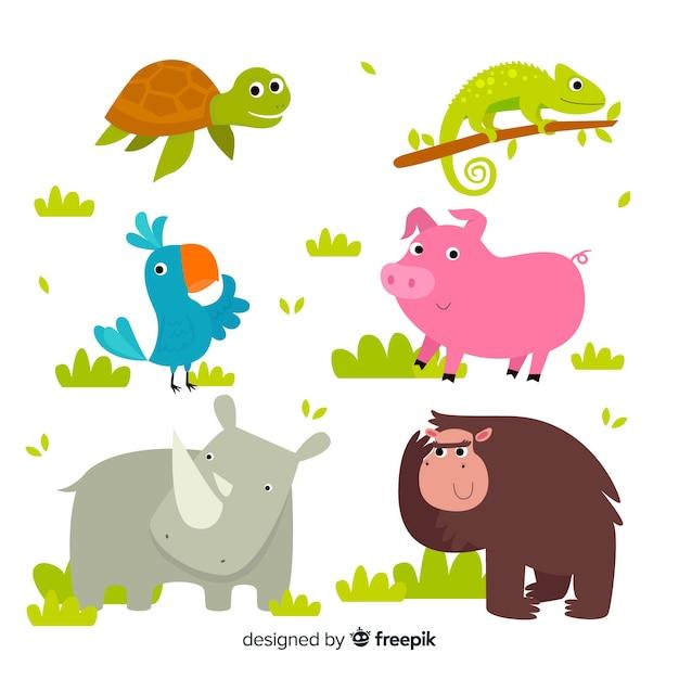 Leuke cartoon dieren pack Gratis Vector