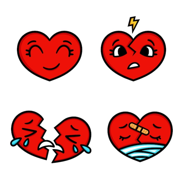 Leuke cartoon emoticon harten set, blij, verdrietig, gebroken. Premium Vector