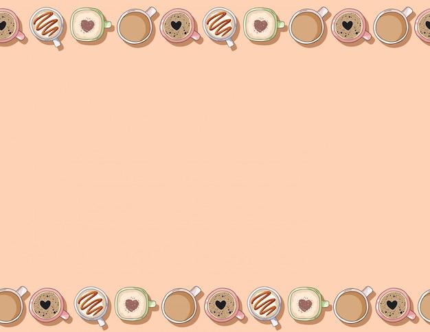 Leuke cartoon hand getekende kopjes lekkere koffie en cacao crème dranken naadloos patroon Premium Vector