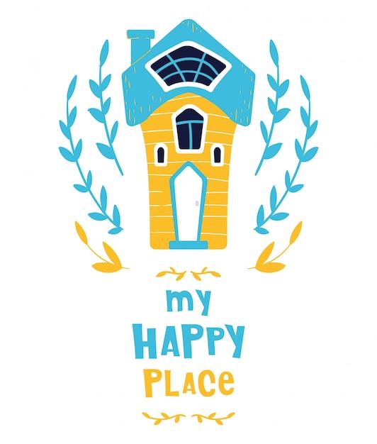 Leuke cartoon huis of thuis, belettering, kaart Premium Vector