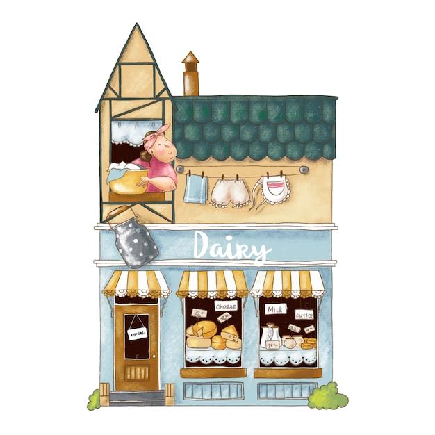Leuke cartoon illustratie van winkel met zuivelproducten Premium Vector