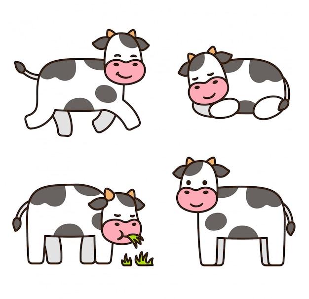 Leuke cartoon koe set Premium Vector