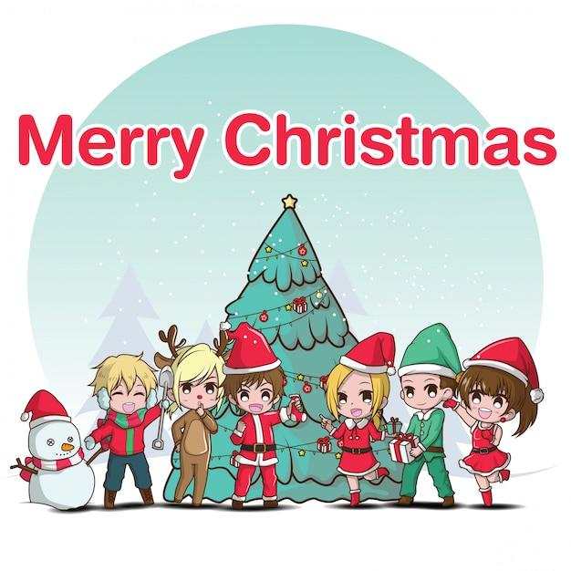 Leuke cartoon merry christmas party Premium Vector