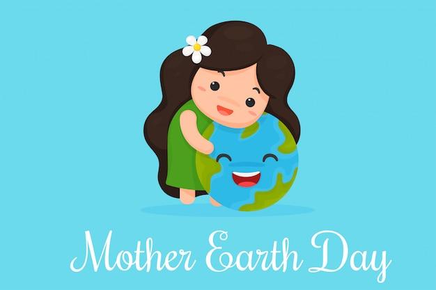 Leuke cartoon moeder aarde toont liefde voor de wereld. Premium Vector