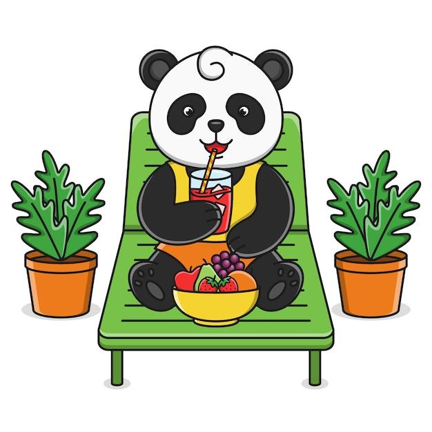 Leuke cartoon panda vruchtensap drinken Premium Vector