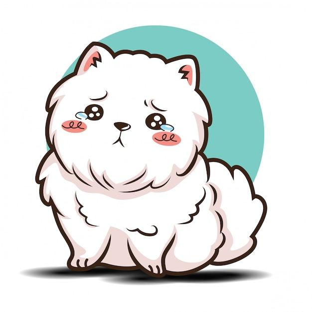 Leuke cartoon pommeren hond karakter Premium Vector