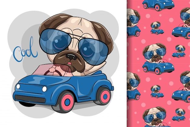 Leuke cartoon pug dog jongen in glazen gaat op een blauwe auto Premium Vector