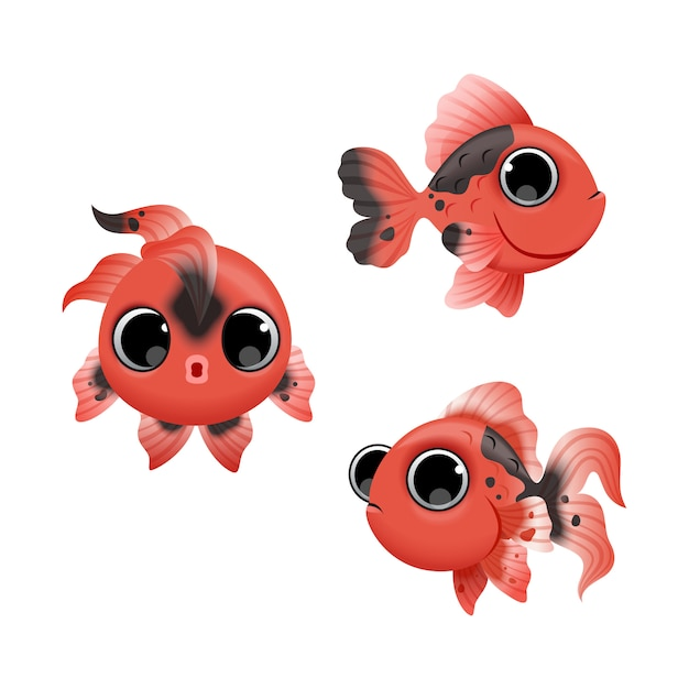 Leuke cartoon rode vissen Premium Vector