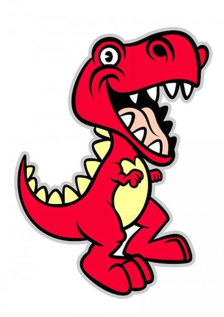 Leuke cartoon t -t-rex dinosaurus Premium Vector