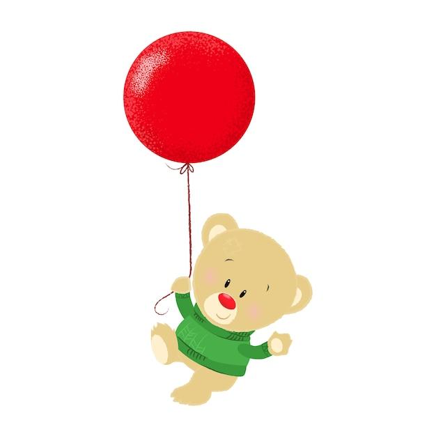 Leuke cartoon teddybeer in groene trui Gratis Vector