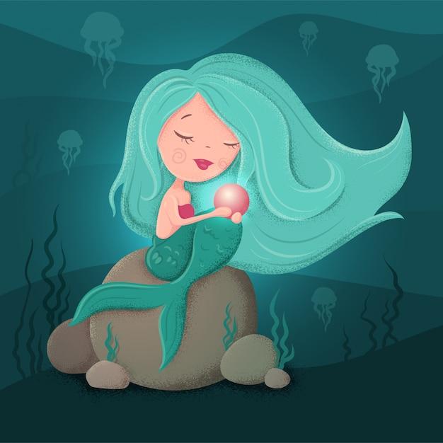 Leuke cartoon zeemeermin met een parel in een vlakke stijl met texturen. Premium Vector