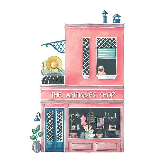 Leuke cartoonillustratie van de bouw van de antiquiteitenwinkel Premium Vector
