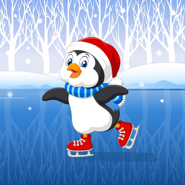 Leuke cartoonpinguïn die ijs het schaatsen doen Premium Vector