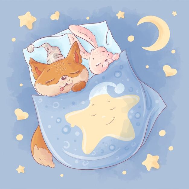 Leuke cartoonvos en konijntjesslaap onder de dekking op een sterrige nacht. Premium Vector