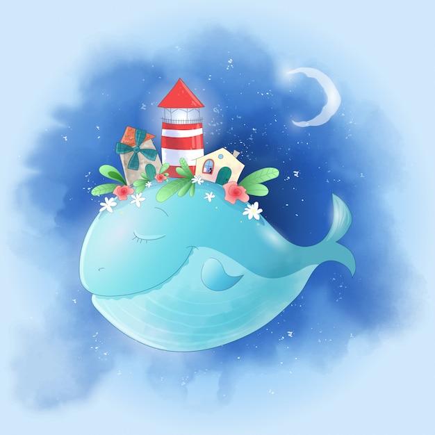 Leuke cartoonwalvis in de hemel met een stad op zijn rug Premium Vector