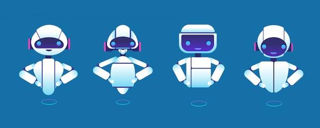 Leuke chatbots. robot assistent, chatter bot, helper chatbot stripfiguren Premium Vector