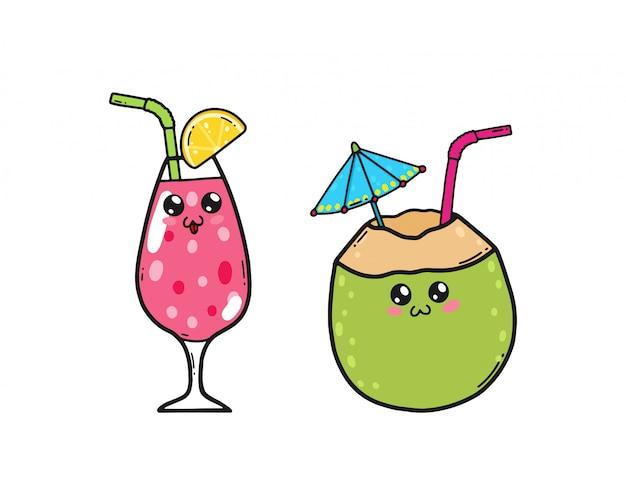 Leuke cocktails die in de kawaiistijl van japan worden geplaatst. gelukkig sap en kokosnoot cocktail stripfiguren met grappige gezichten geïsoleerd Premium Vector