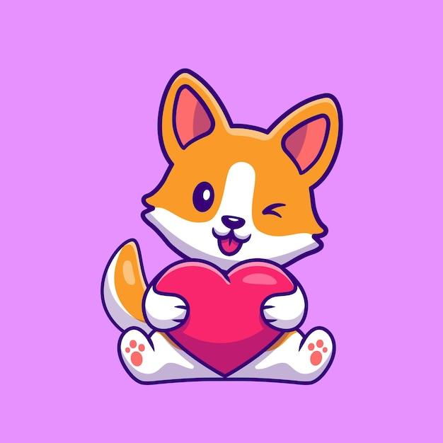 Leuke corgi dog holding heart cartoon Gratis Vector