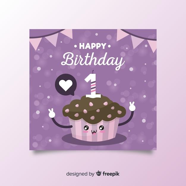 Leuke cupcake eerste verjaardagskaart Gratis Vector