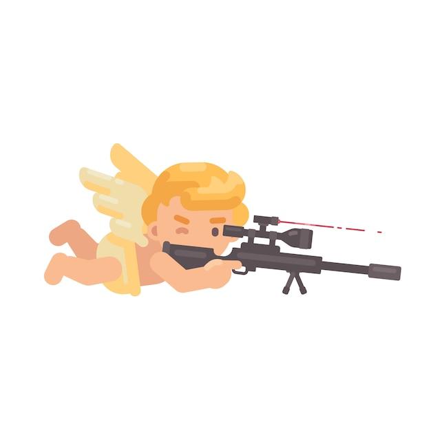 Leuke cupido die een sluipschuttergeweer ontspruit Premium Vector