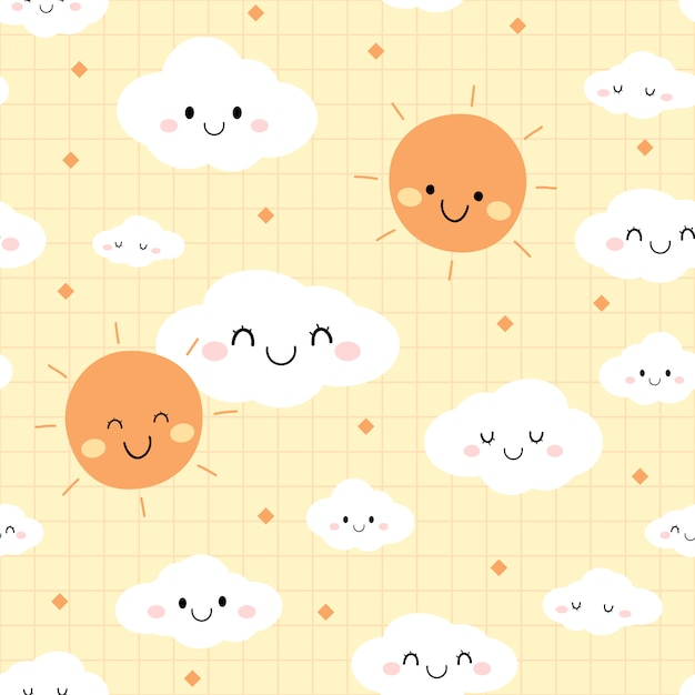 Leuke dag hemel wolk cartoon doodle naadloze patroon Premium Vector