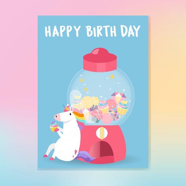 Leuke de kaartvector van de eenhoorn gelukkige verjaardag Gratis Vector