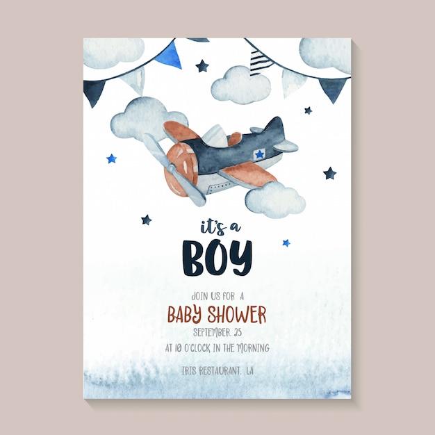Leuke de scèneillustratie van de waterverfhemel volledig met vliegtuig, slinger, ster en wolk. perfect voor baby shower uitnodigingskaart Premium Vector