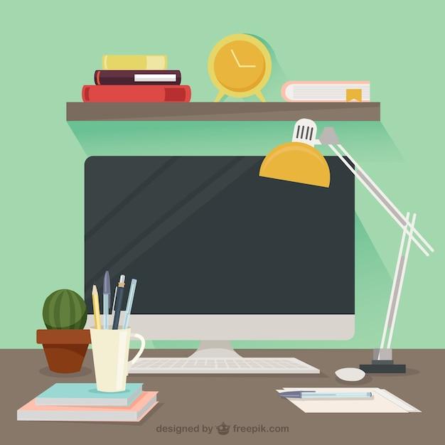 Leuke designer desktop Gratis Vector