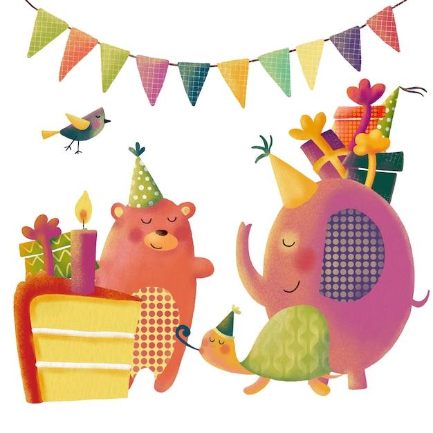 Leuke die cartoonverjaardag met grappige dieren voor groeten wordt geplaatst Premium Vector