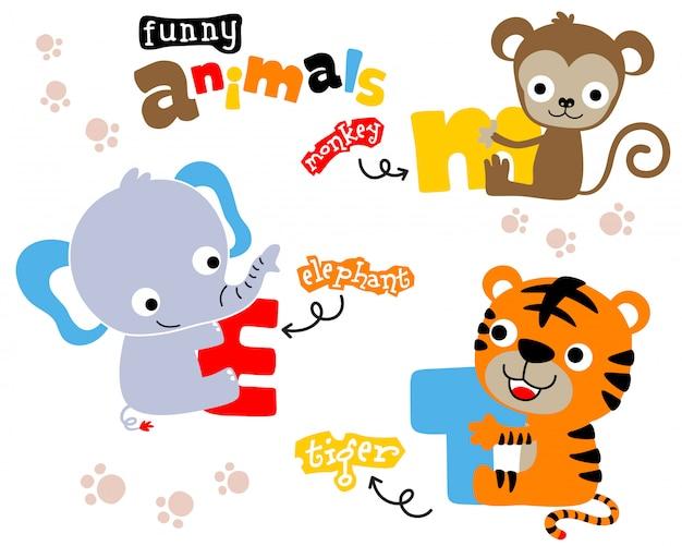 Leuke dieren cartoon met kleurrijke brief Premium Vector