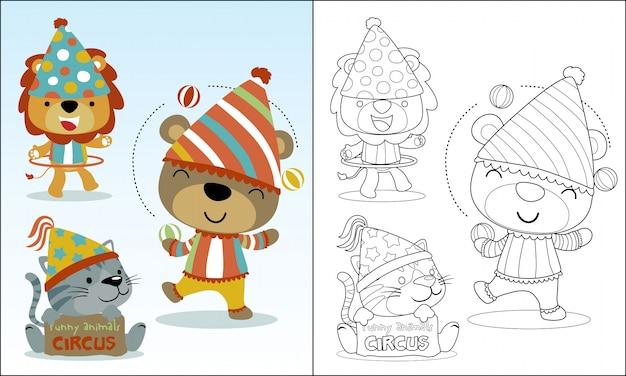 Leuke dieren cartoon spelen circus Premium Vector