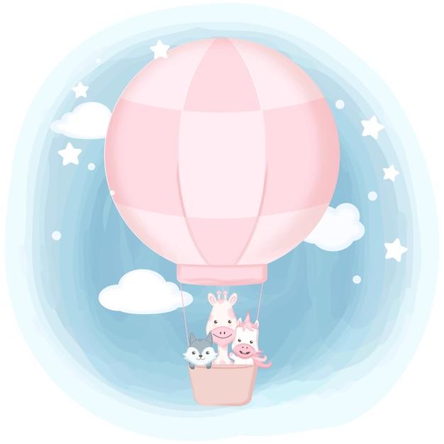 Leuke dieren die op getrokken de hand van de luchtballon drijven Premium Vector