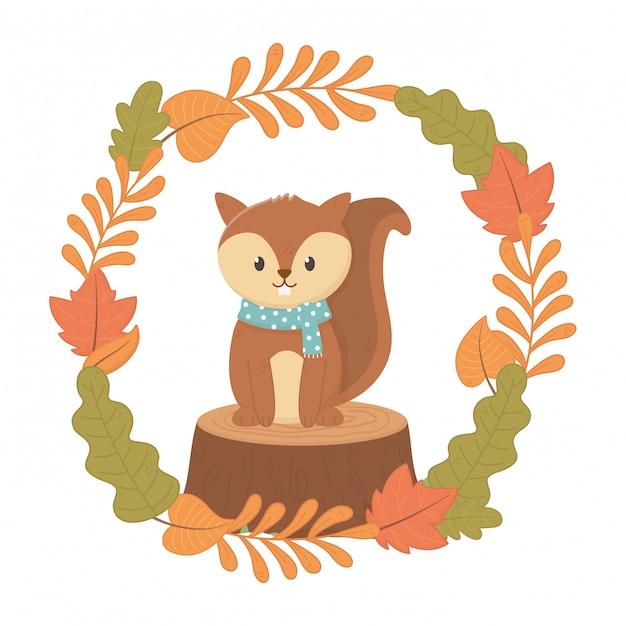 Leuke dieren gebladerte hallo herfst Premium Vector