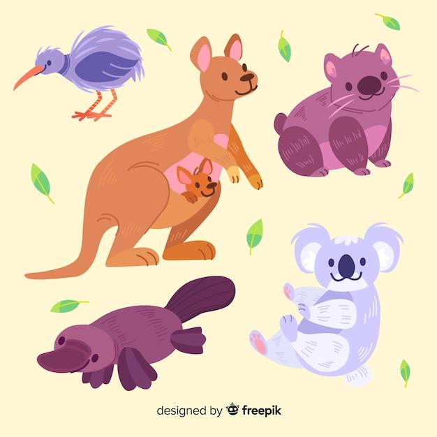 Leuke dierencollectie met kangoeroe Gratis Vector