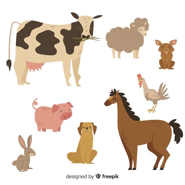 Leuke dierencollectie met koe Gratis Vector