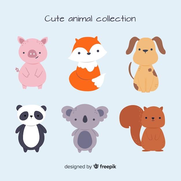 Leuke dierencollectie met panda Gratis Vector
