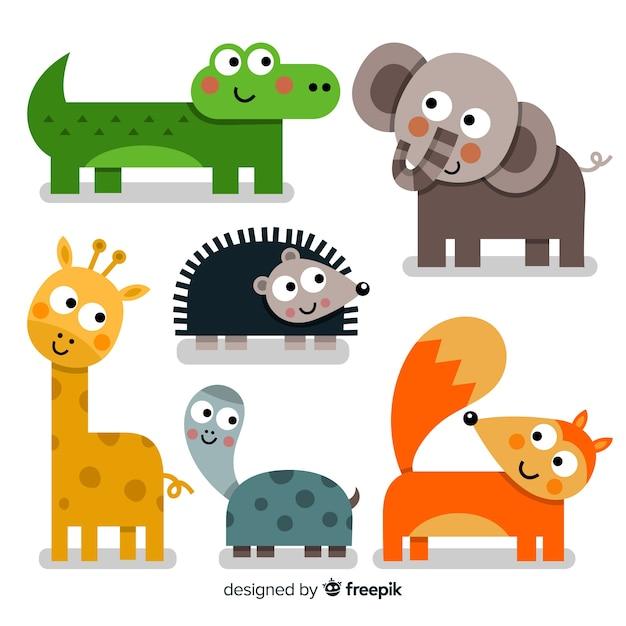 Leuke dierencollectie met vos Gratis Vector