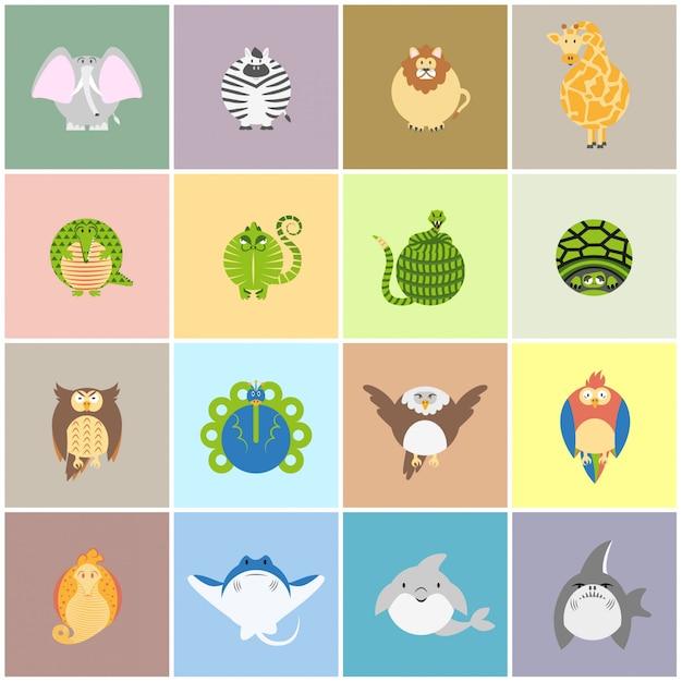 Leuke dierentuin dieren kaartenset Gratis Vector