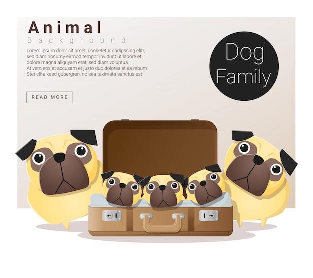 Leuke dierlijke familieachtergrond met honden Premium Vector