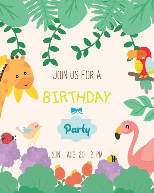 Leuke dierlijke thema verjaardagsfeestje uitnodigingskaart vector. Premium Vector