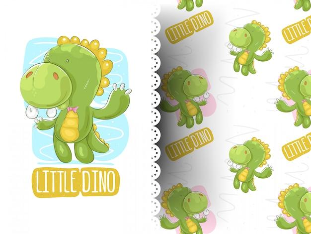 Leuke dinosaurus cartoon op gestreepte achtergrond Premium Vector