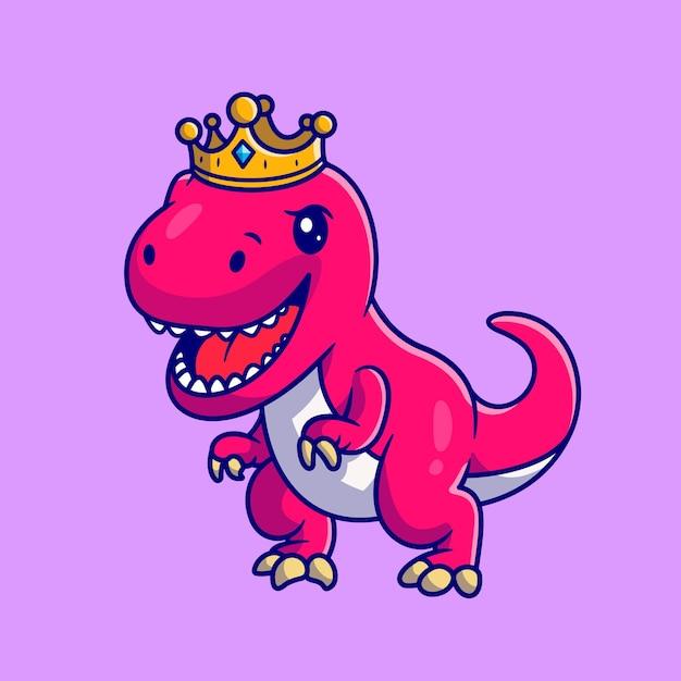 Leuke dinosauruskoningin met kroon. flat cartoon stijl Gratis Vector