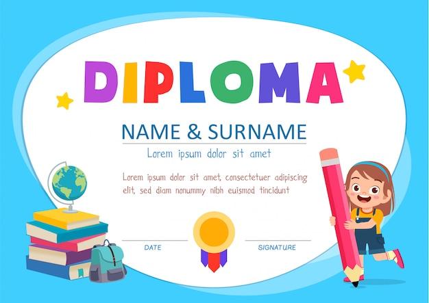 Leuke diploma certificaatsjabloon voor schoolstudent Premium Vector