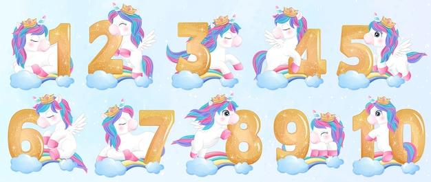 Leuke doodle eenhoorn met nummeringsset illustratie Premium Vector