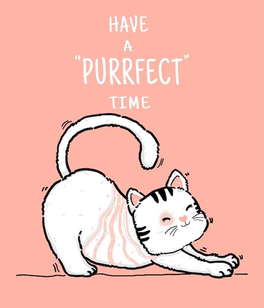 Leuke doodle gelukkige speelse luie pluizige kiitty witte en roze kat hebben purrfect tijd, overzicht hand tekenen vlakke afbeelding Premium Vector