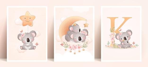 Leuke doodle koala met bloemen illustratie Premium Vector