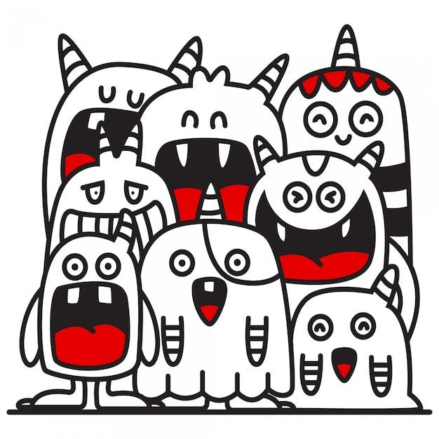 Leuke doodle monster ontwerp illustratie Premium Vector